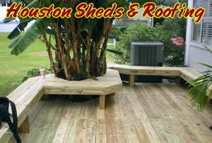 wood deck with chairs benches wrap around houston tx