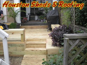 wood deck stairs benches houston tx woodlands